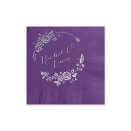 Roses and Whimsy - Purple - Foil Cocktail Napkin
