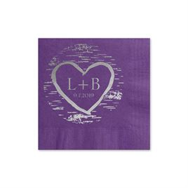 Birch Tree Carvings - Purple - Foil Cocktail Napkin