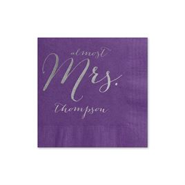Almost Mrs. - Purple - Foil Cocktail Napkin
