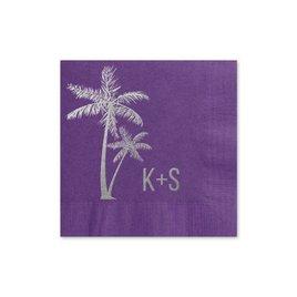 Palm Trees - Purple - Foil Cocktail Napkin
