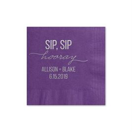 Sip, Sip Hooray - Purple - Foil Cocktail Napkin