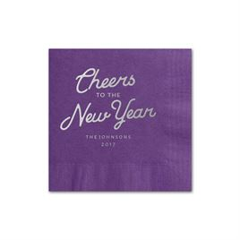 Cheers - Purple - Holiday Beverage Napkin