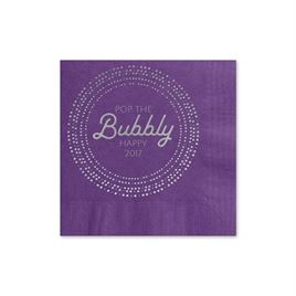 Pop the Bubbly - Purple - Holiday Beverage Napkin