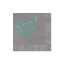 Drunk on Love - Pewter - Foil Cocktail Napkin