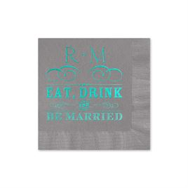 Be Married - Pewter - Foil Cocktail Napkin