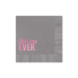 Best Day Ever - Pewter - Foil Cocktail Napkin