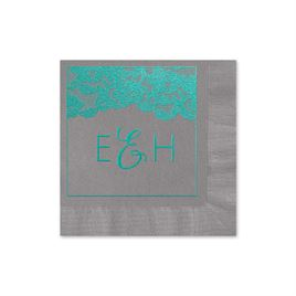 Vintage Lace - Pewter - Foil Cocktail Napkin