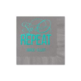 Sip & Repeat - Pewter - Foil Cocktail Napkin