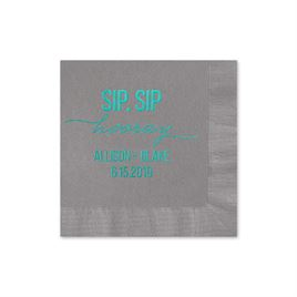 Sip, Sip Hooray - Pewter - Foil Cocktail Napkin