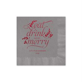Eat, Drink, Merry - Pewter - Holiday Beverage Napkin