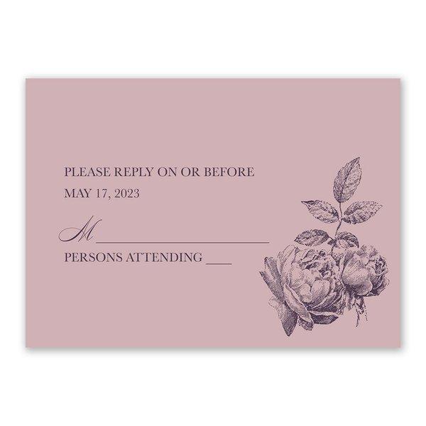 Vintage Rose - Lilac - Response Card