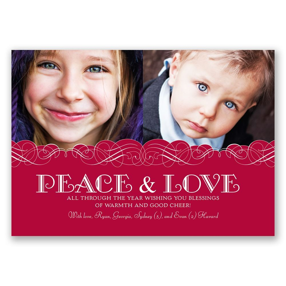 Peace and Love Photo Holiday Card Classic | Invitations By Dawn