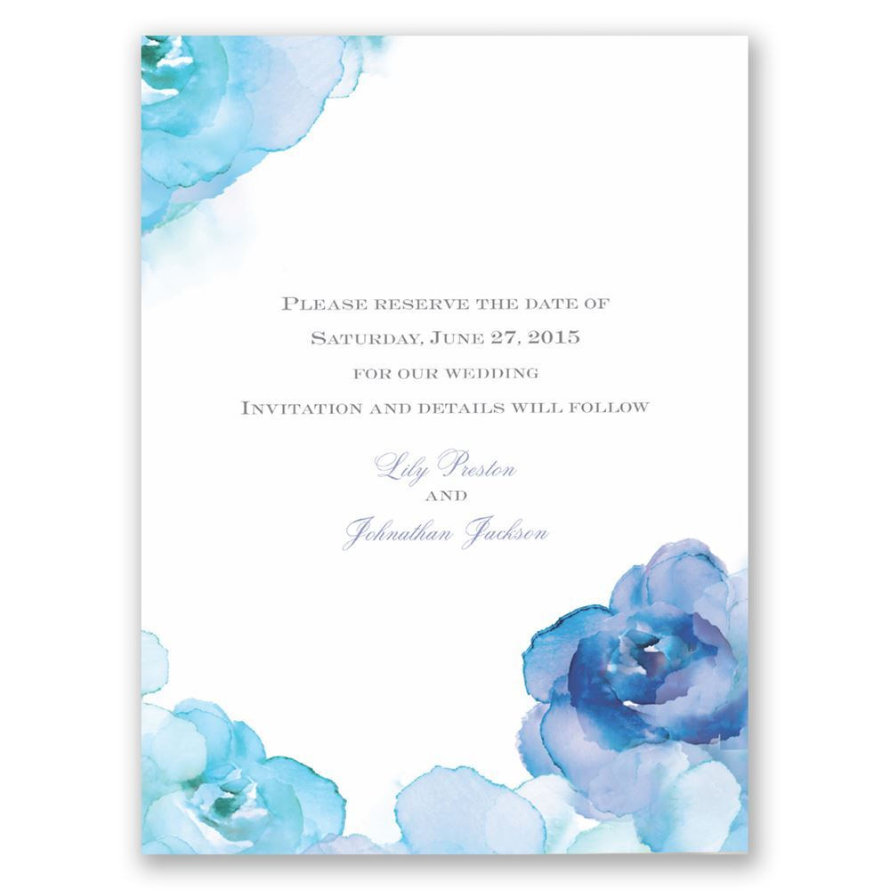 watercolor roses save the date card