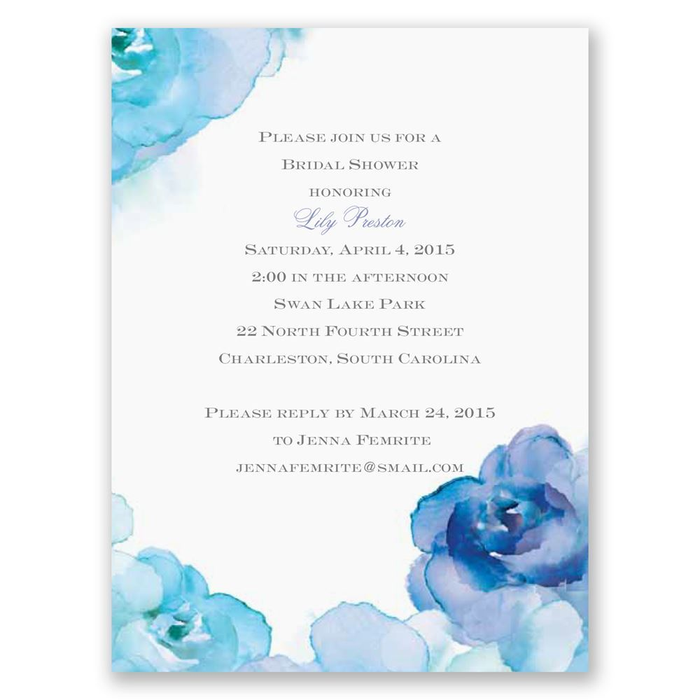 watercolor roses blue petite bridal shower invitation