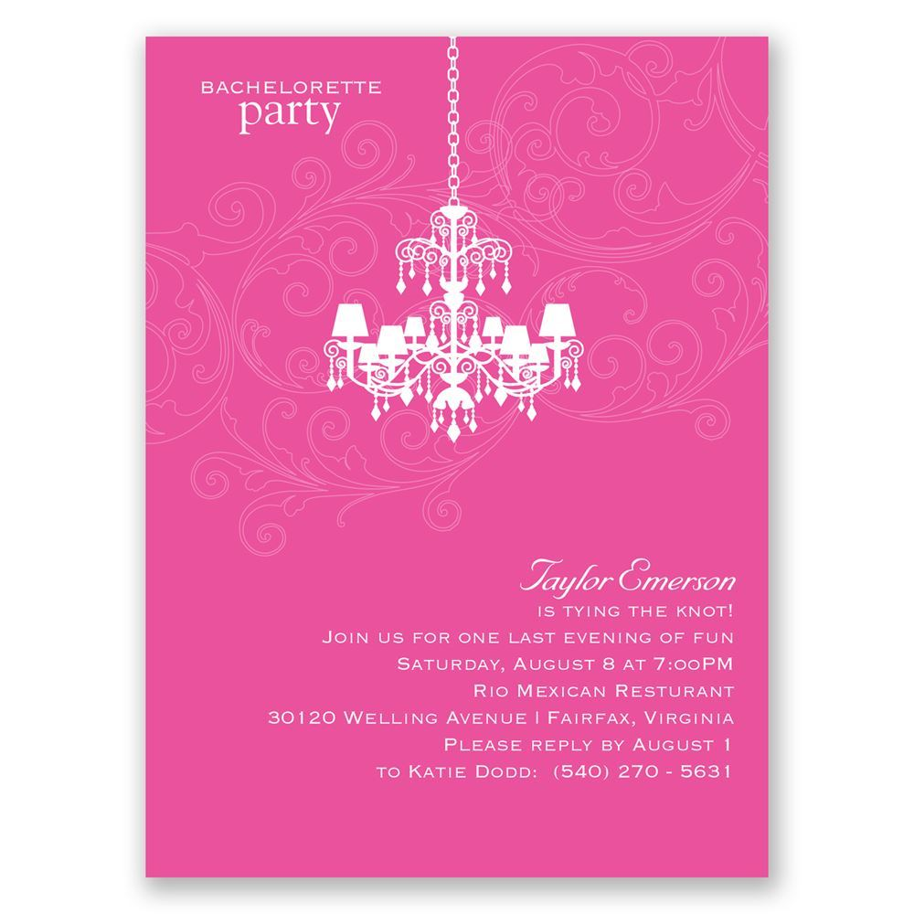 Chandelier Swirl Bachelorette Party Invitation Invitations by Dawn
