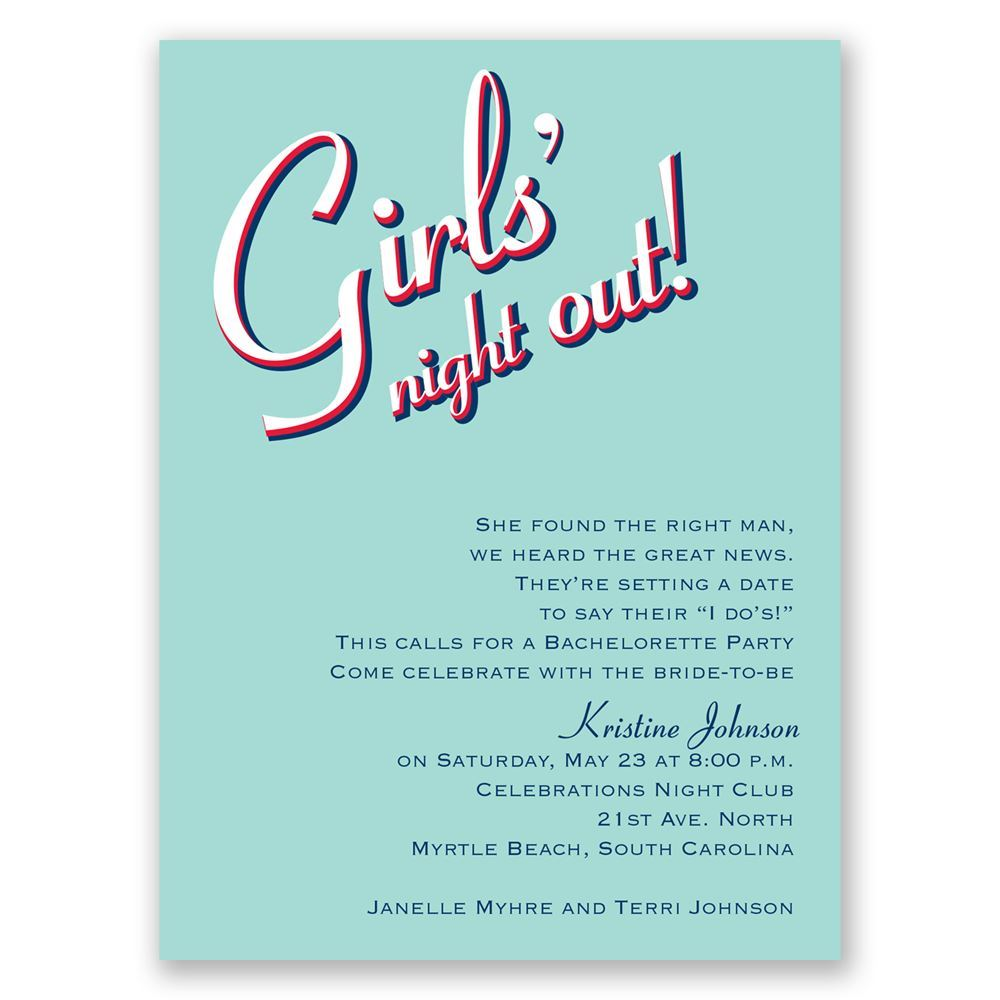 Night out bachelorette party invitation invitations by dawn night out aqua bachelorette party invitation stopboris
