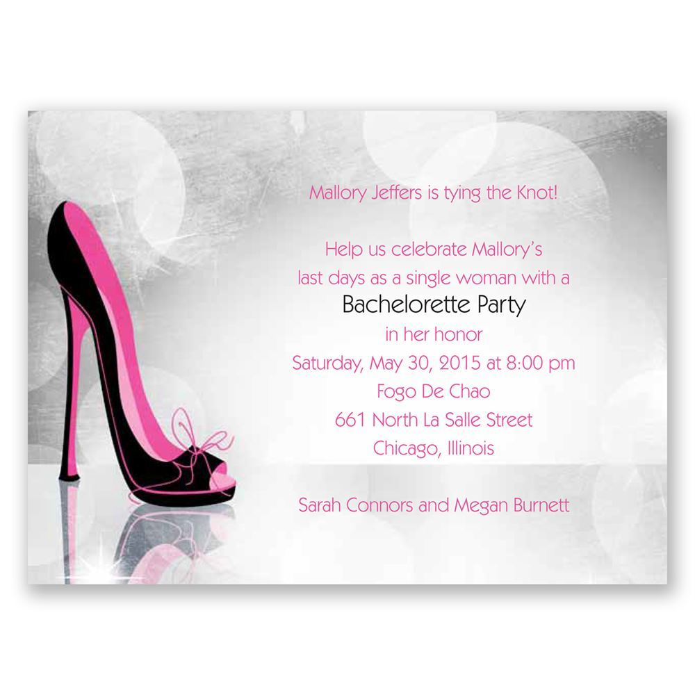 High heel bachelorette party invitation invitations by dawn high heel pink bachelorette party invitation stopboris