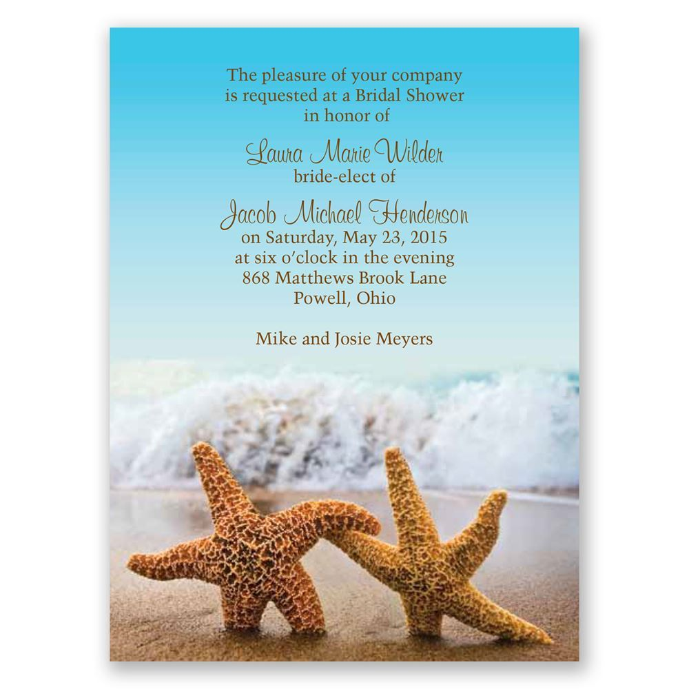 starfish petite bridal shower invitation