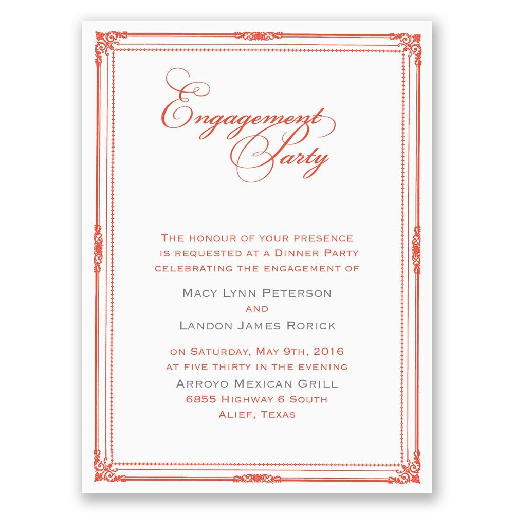 Classic Frame Petite Engagement Party Invitation ...