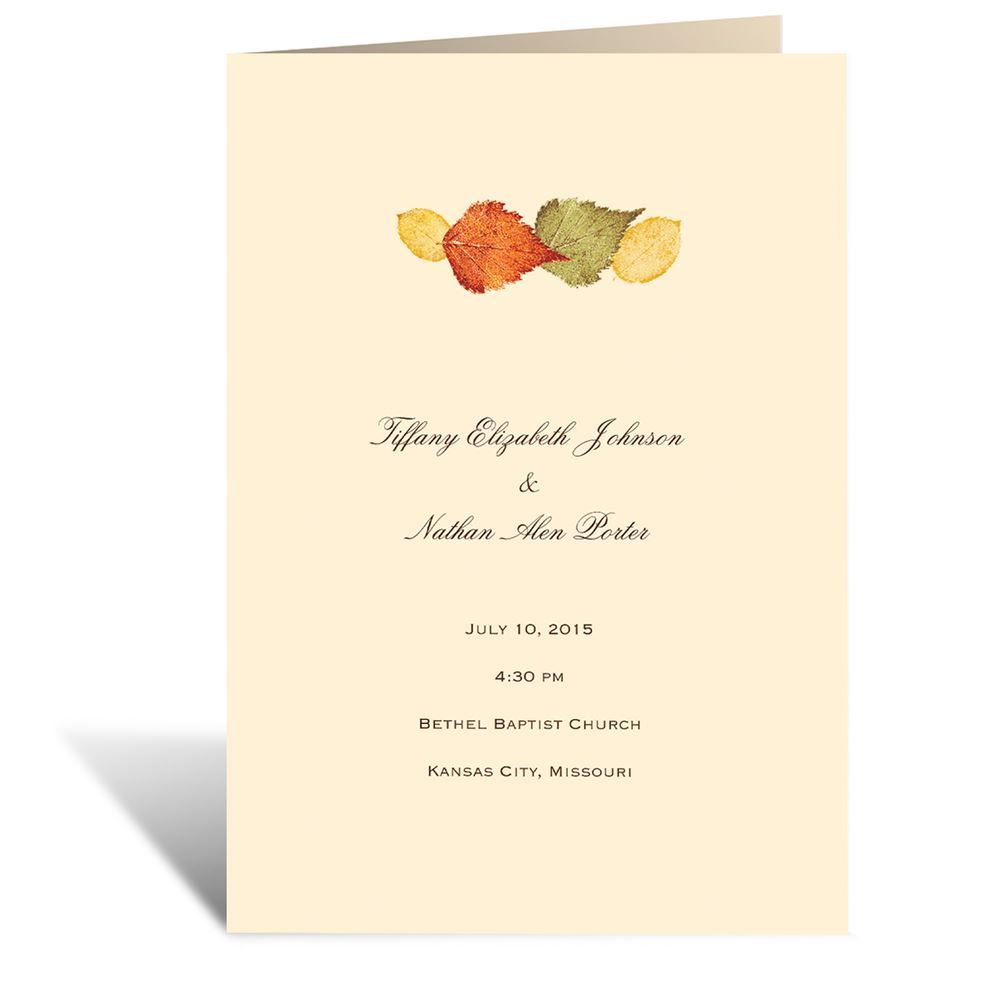 Touch of Autumn Program | Invitations By Dawn