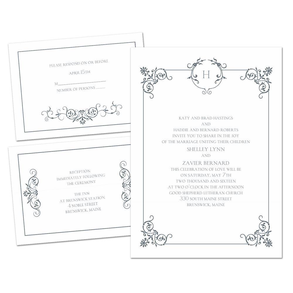 Delicate scrolls 3 for 1 invitation invitations by dawn delicate scrolls 3 for 1 invitation stopboris Gallery