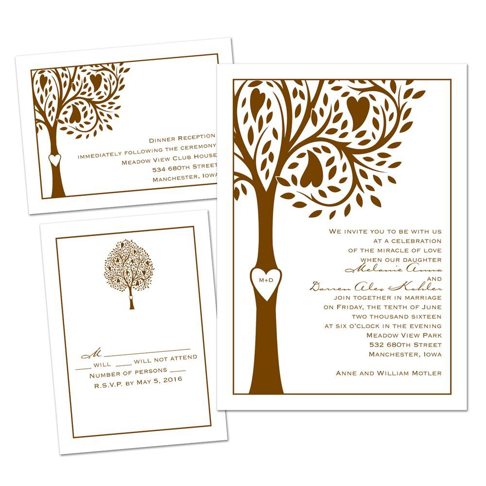 Tree Of Love 3 For 1 Invitation