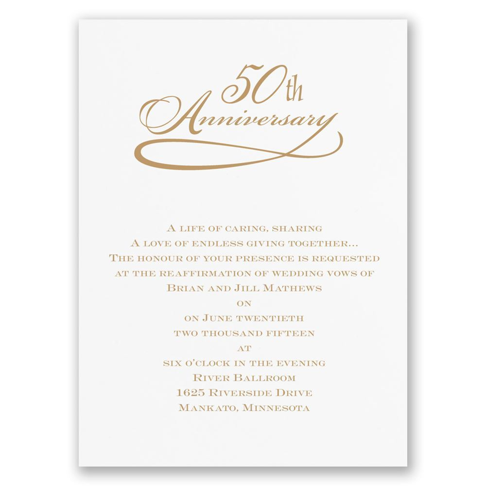 Classic 50th Anniversary Invitation Invitations By Dawn