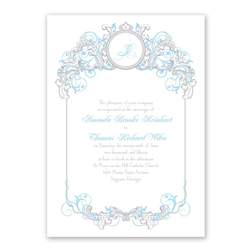Disney fairy tale filigree invitation cinderella for Cinderella invitation to the ball template