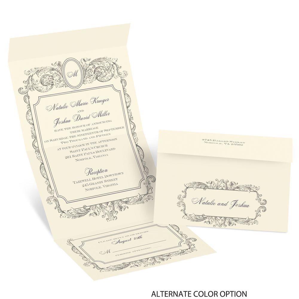 Cheap Send And Seal Wedding Invitations: Posh Frame Seal And Send Invitation