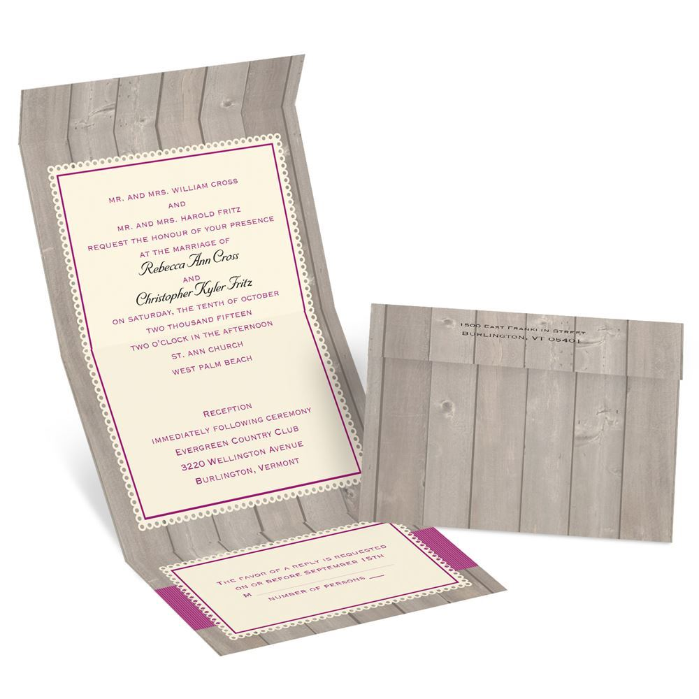Rustic Fence Seal and Send Invitation | Invitations by Dawn