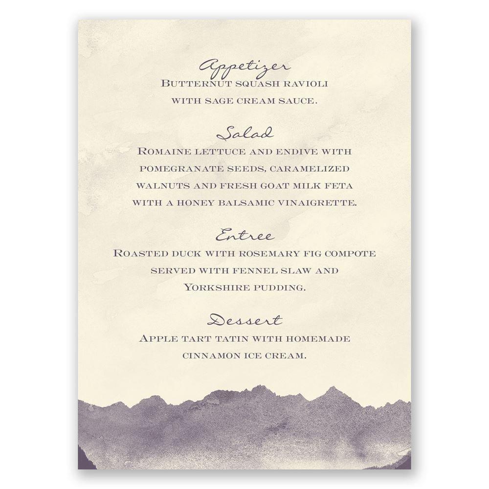 Mountain Mist Menu Card | Invitations by Dawn