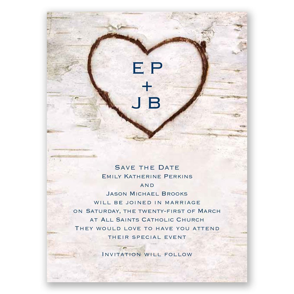 Carved in Love Save the Date Card | Invitations By Dawn