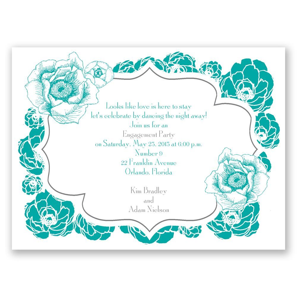 Pretty Flowers Petite Engagement Party Invitation ...