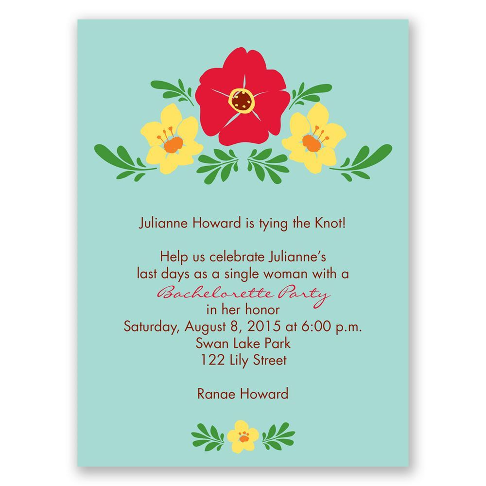 Blooming Vintage Bachelorette Party Invitation – Flower Party Invitations