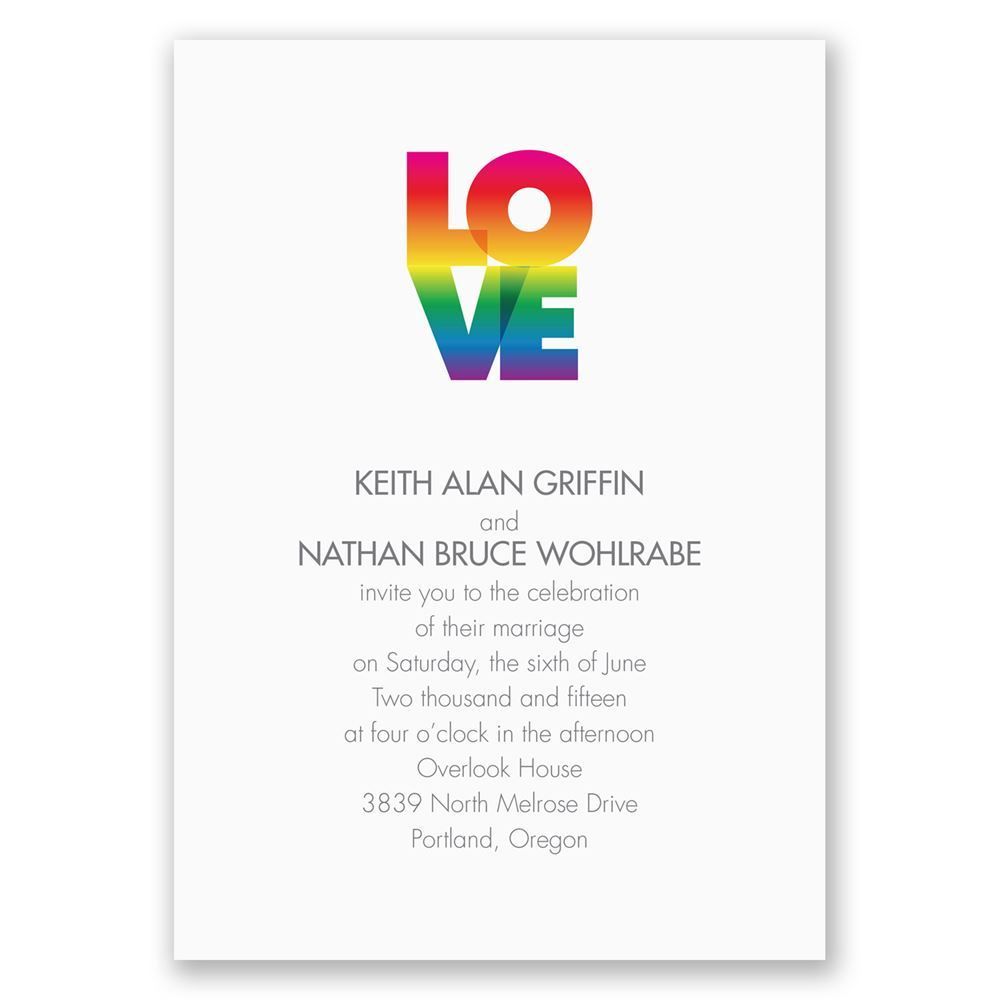 Show your pride in your love with the rainbow design on the front and back of this wedding invitation! Printed in your choice of colors.