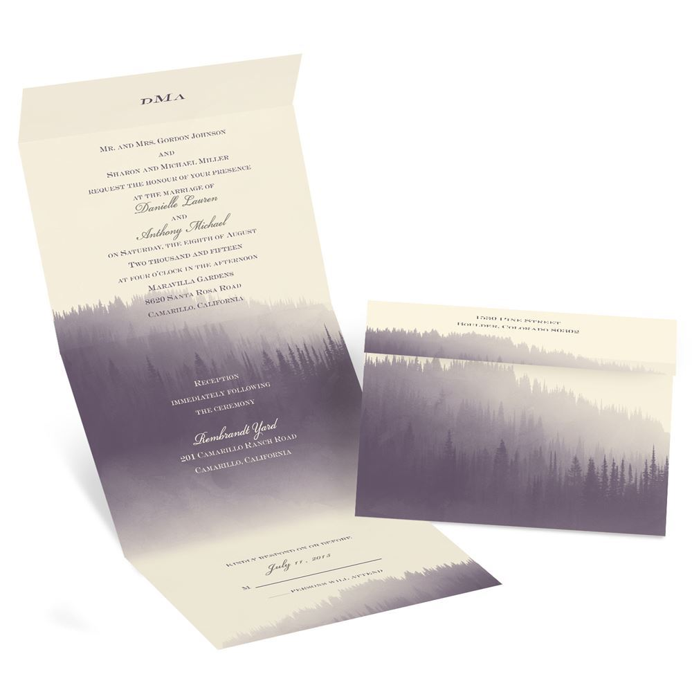 watercolor forest seal and send invitation  invitations by dawn, Wedding invitations