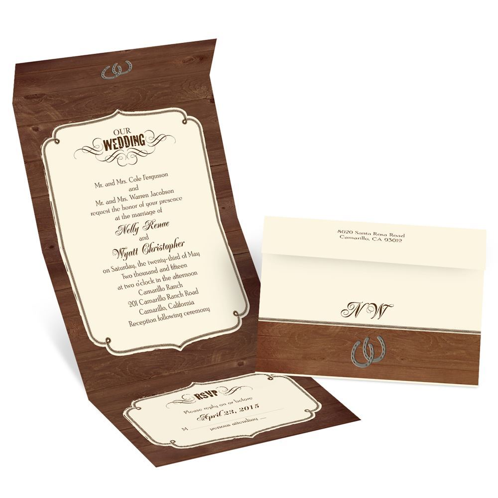 rustic wedding ecru seal and send invitation