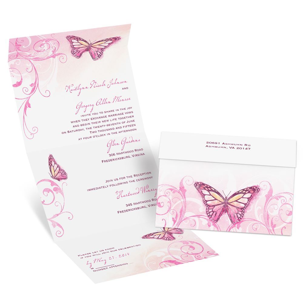 Butterfly Themed Wedding Invitations: Beautiful Butterflies Seal And Send Invitation