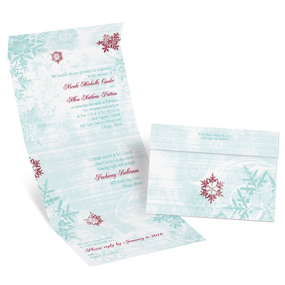 Winter Wedding Invitations Cheap: Snowflakes And Swirls Seal And Send Invitation