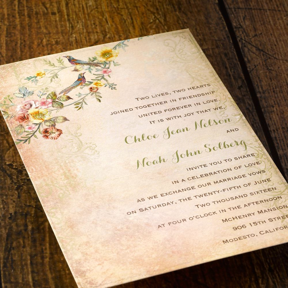 Vintage Birds Invitation | Invitations By Dawn