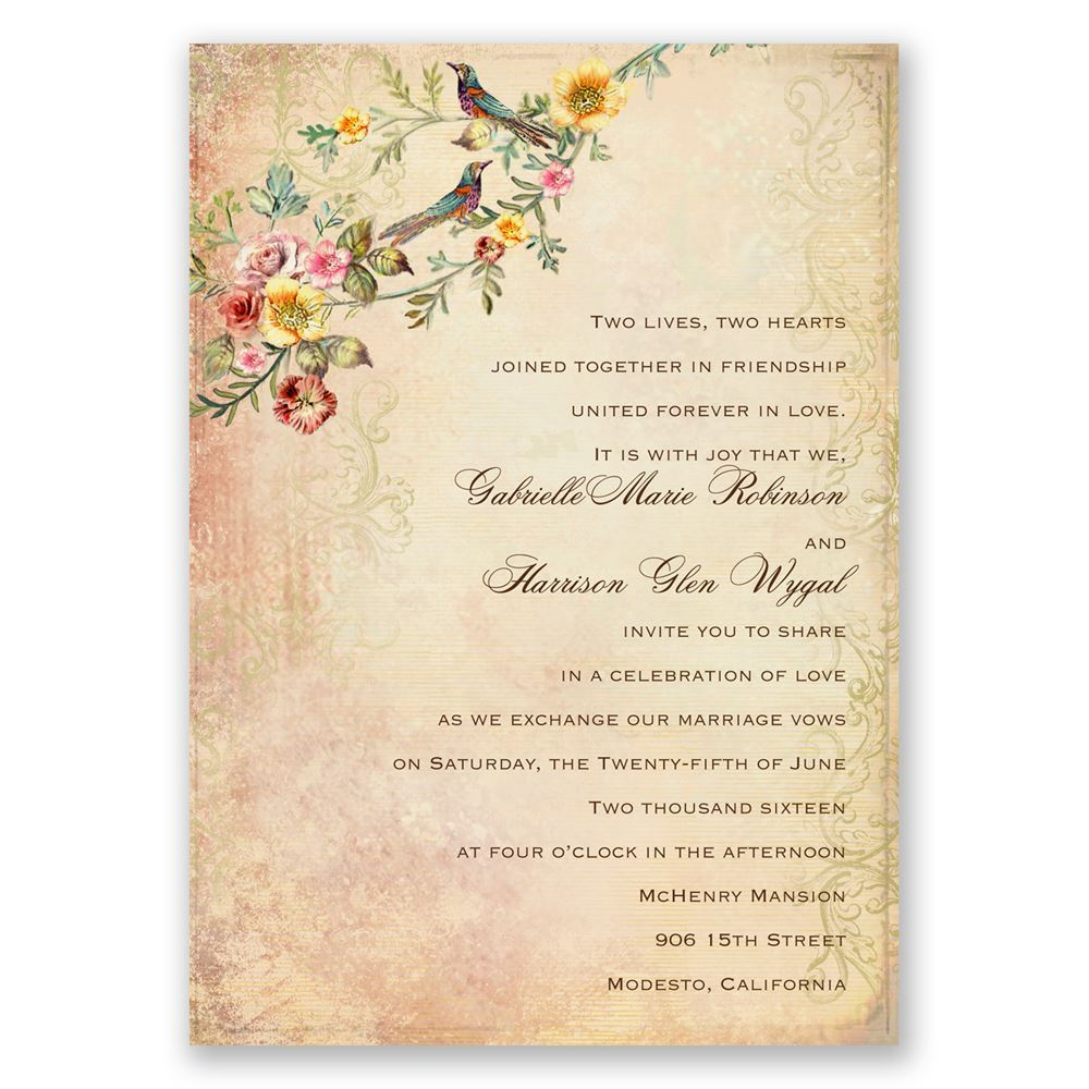 Shop Invitations by Dawn for Vintage wedding invitations featuring everything from beautiful birds to elaborate florals.
