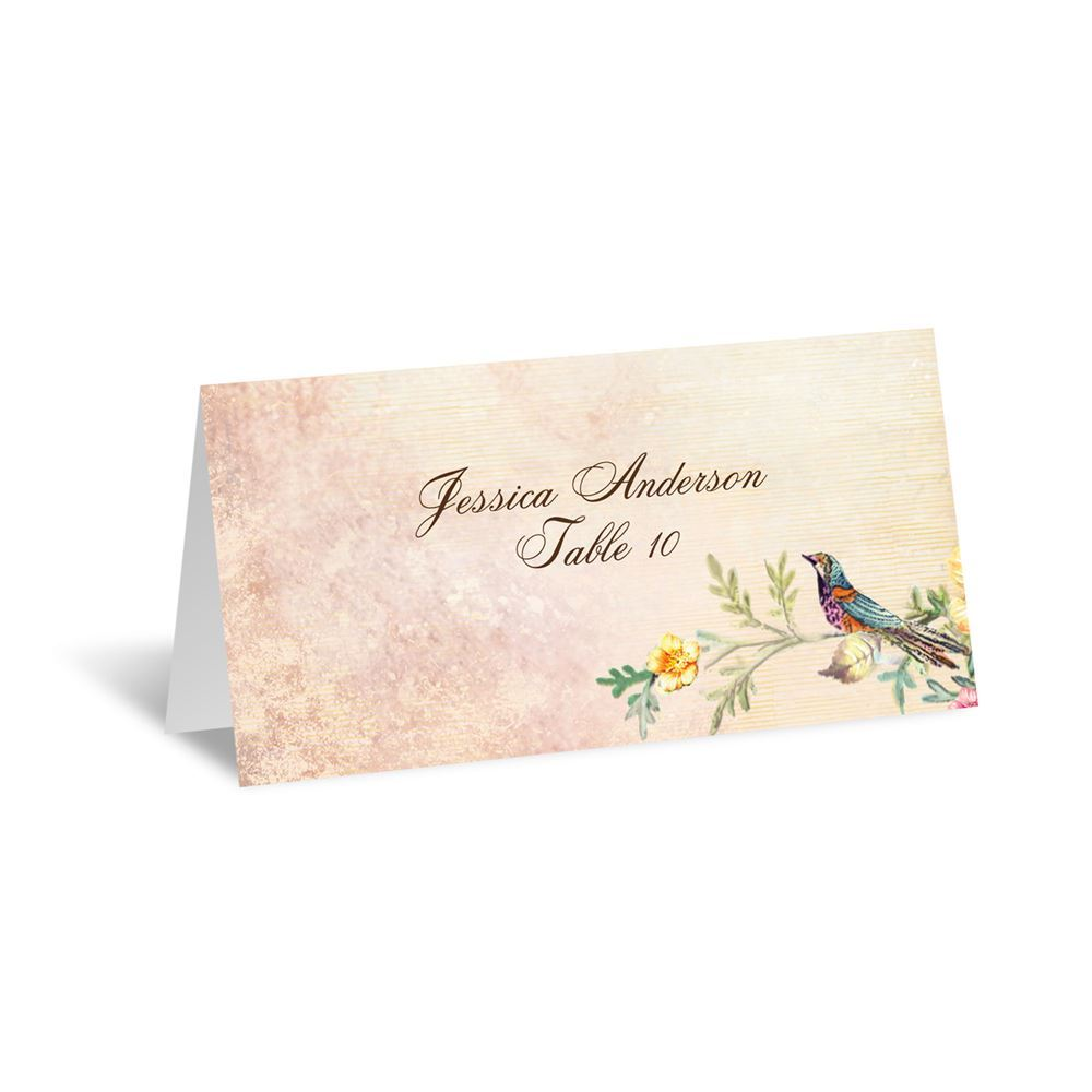 Vintage Birds Escort Card Invitations By Dawn