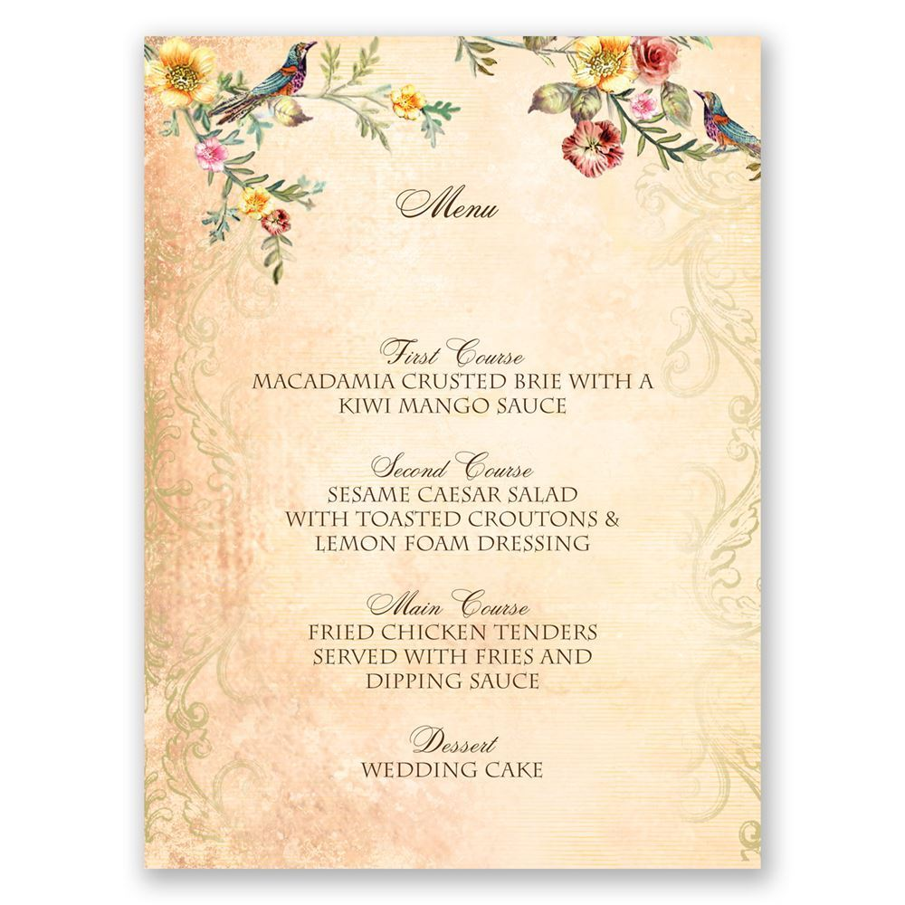 Vintage Birds Menu Card | Invitations By Dawn