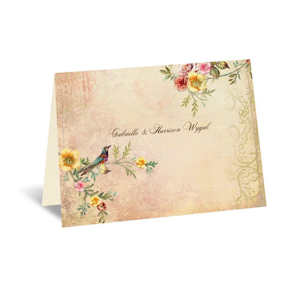 Thank You Letter For Wedding Invitation: Vintage Birds Note Card And Envelope