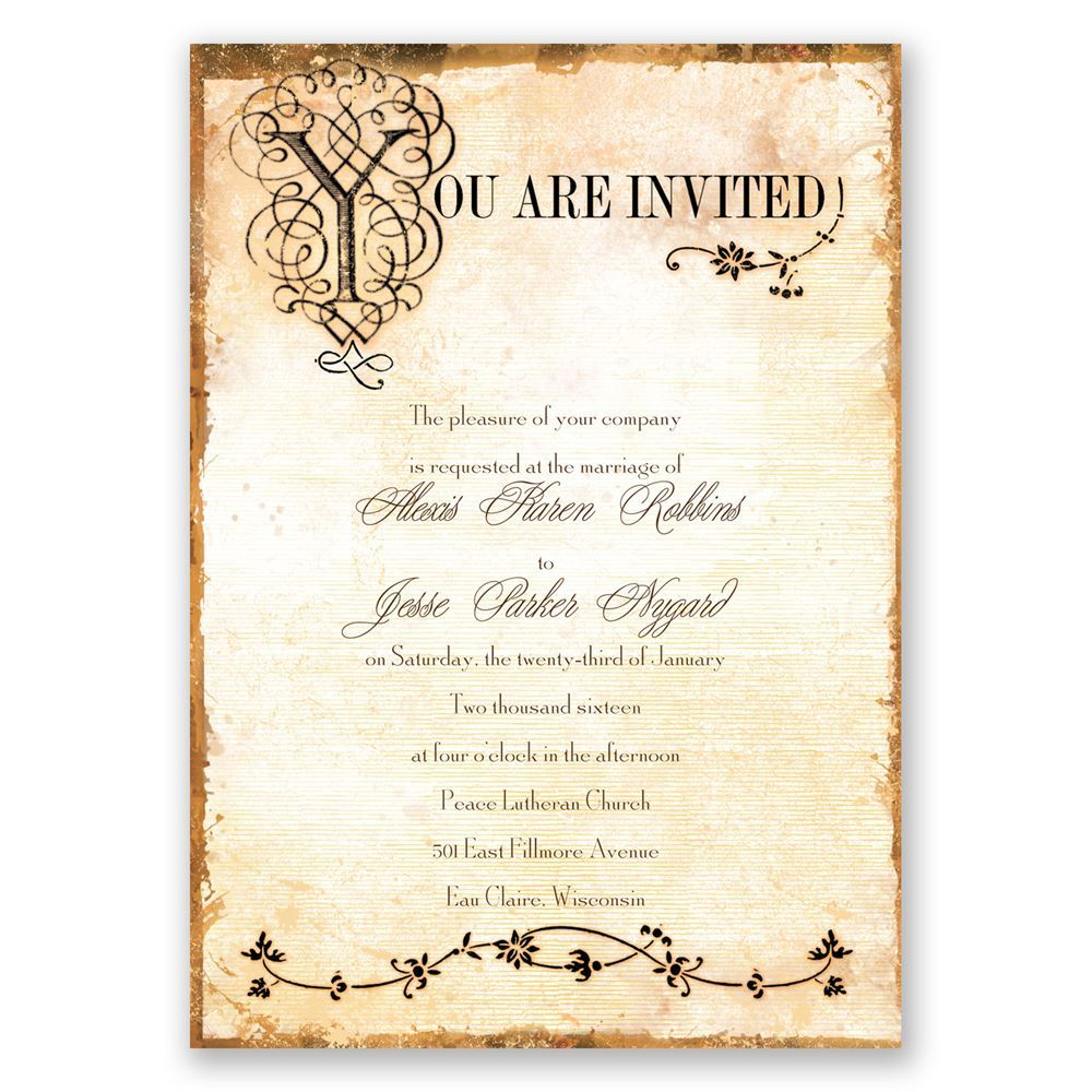 Wedding Invitation Book Style: Antique Book Invitation