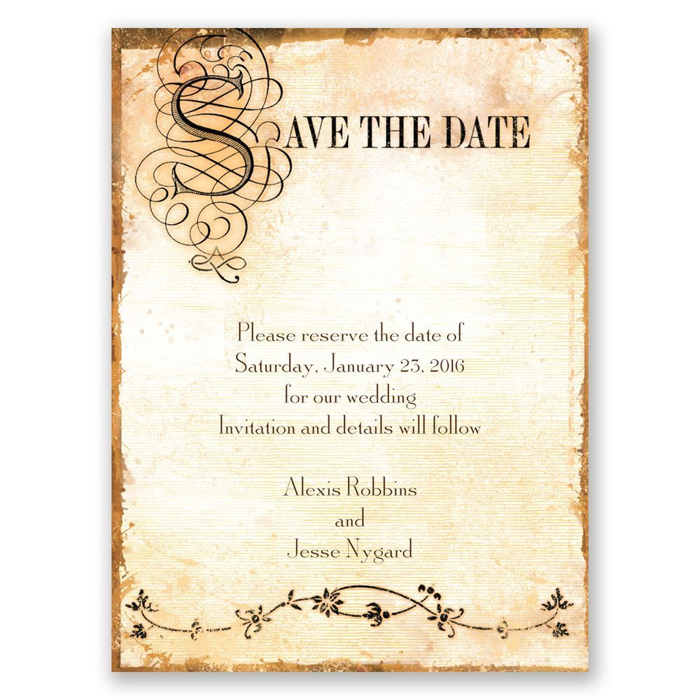 Antique Book Save the Date Card | Invitations By Dawn