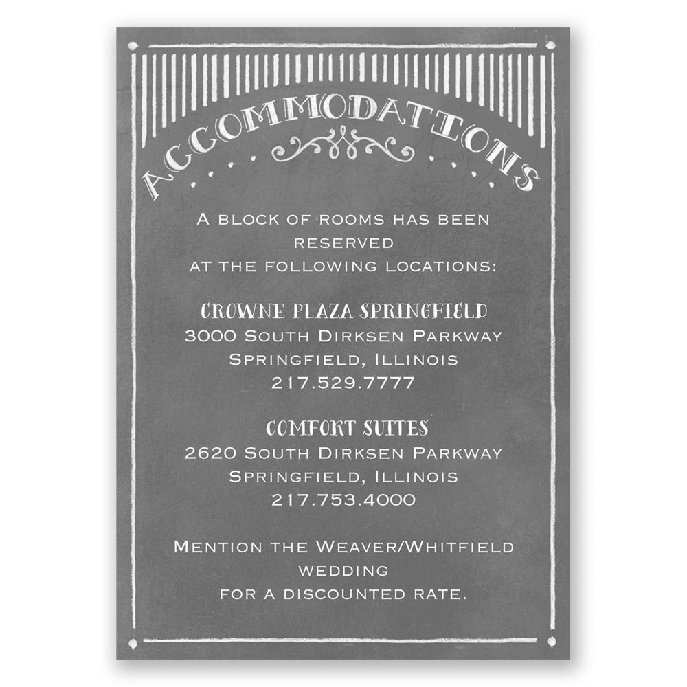Accommodation Cards For Wedding Invitations: Chalkboard Sketch Accommodations Card