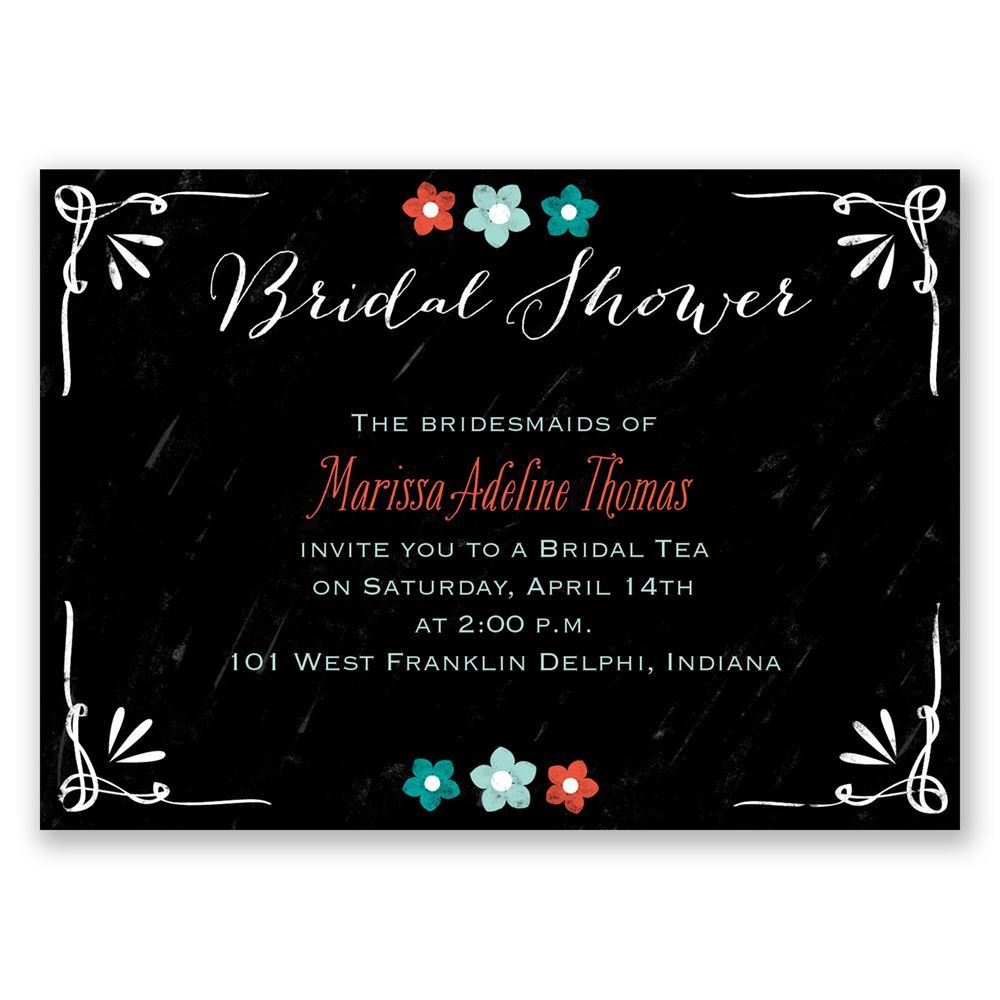 Chalkboard flowers mini bridal shower invitation invitations by dawn chalkboard flowers mini bridal shower invitation filmwisefo