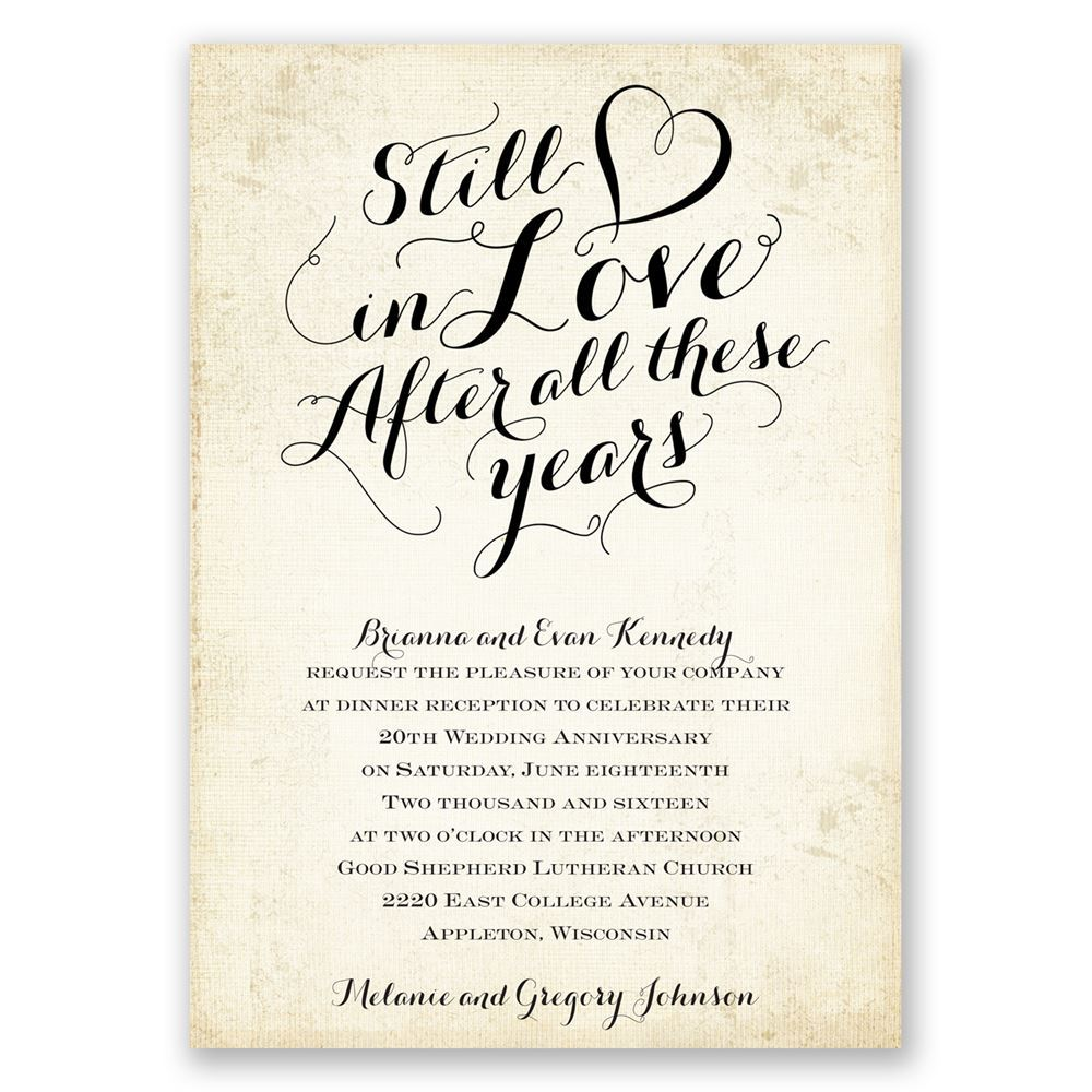 Wedding Party Invitations: Still In Love Anniversary Invitation