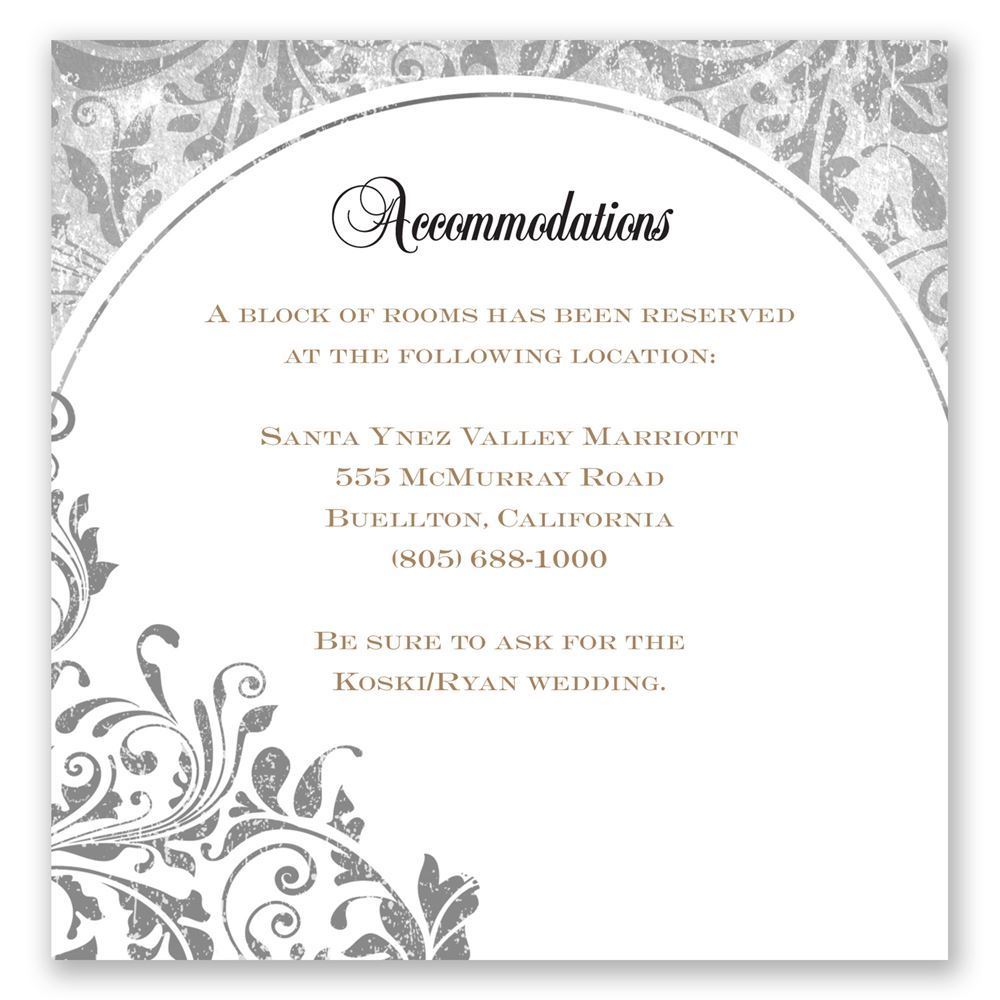 Accommodation Cards For Wedding Invitations: Damask Moon Accommodations Card